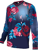 cheap -21Grams Men's Long Sleeve Downhill Jersey Dark Navy Floral Botanical Bike Jersey Top Mountain Bike MTB Road Bike Cycling UV Resistant Quick Dry Sports Clothing Apparel / Athletic