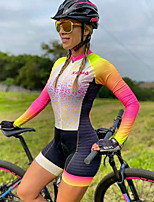 cheap -Men's Women's Long Sleeve Cycling Jersey with Shorts Triathlon Tri Suit Red / Yellow Bike Breathable Quick Dry Sports Mountain Bike MTB Road Bike Cycling Clothing Apparel / Stretchy / Athletic