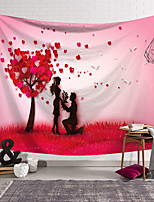 cheap -Valentine's Day Wall Tapestry Art Decor Blanket Curtain Hanging Home Bedroom Living Room Decoration Rose Flower Heart Tree Lover