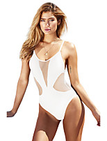 cheap -Women's Fashion Sexy One Piece Swimsuit Solid Color Mesh Padded Normal Swimwear Bathing Suits White Black Green