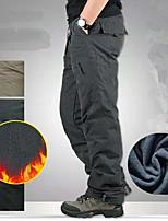 cheap -Men's Hiking Cargo Pants Solid Color Winter Outdoor Fleece Lining Comfortable Anti-tear Multi-Pocket Cotton Bottoms Dark Grey Black Army Green Khaki Fishing Climbing Camping / Hiking / Caving M L XL