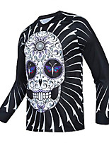 cheap -21Grams Men's Long Sleeve Downhill Jersey Spandex Black Skull Bike Jersey Top Mountain Bike MTB Road Bike Cycling UV Resistant Quick Dry Sports Clothing Apparel / Athletic
