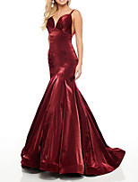 cheap -Mermaid / Trumpet Minimalist Sexy Engagement Formal Evening Dress V Neck Sleeveless Floor Length Taffeta with Pleats 2020