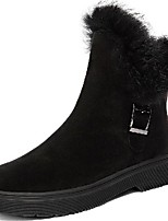 cheap -Women's Boots Flat Heel Round Toe Booties Ankle Boots Daily Walking Shoes Cowhide Buckle Solid Colored Black / Mid-Calf Boots