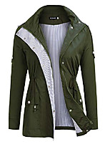 cheap -Women's Solid Color Sporty Spring & Summer Coat Regular Casual / Daily Polyester Coat Tops Navy