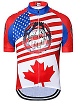 cheap -21Grams Men's Short Sleeve Cycling Jersey Red National Flag Bike Jersey Mountain Bike MTB Road Bike Cycling Breathable Quick Dry Sports Clothing Apparel / Athletic