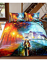 cheap -art street print 3-piece duvet cover set hotel bedding sets comforter cover with soft lightweight microfiber, include 1 duvet cover, 2 pillowcases for double/queen/king(1 pillowcase for twin/single)