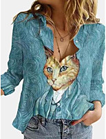 cheap -Women's Blouse Shirt Animal Long Sleeve Print Shirt Collar Tops Basic Top Blue