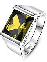 cheap -men's wedding anniversary rings with emerald cut created green peridot solid  silver eternity ring size 11