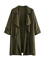 cheap -Women's Jacket Solid Color Classic Work Fall Notch lapel collar Jacket Long Causal Long Sleeve Polyester Coat Tops ArmyGreen