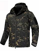 cheap -Men's Hiking Softshell Jacket Hiking Fleece Jacket Winter Outdoor Waterproof Lightweight Windproof Breathable Jacket Top Fleece Fishing Climbing Camping / Hiking / Caving Black jacket Army green