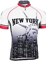 cheap -21Grams Men's Short Sleeve Cycling Jersey White Bike Jersey Top Mountain Bike MTB Road Bike Cycling UV Resistant Quick Dry Sports Clothing Apparel / Athletic