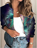 cheap -Women's Tie Dye Patchwork Streetwear Spring &  Fall Jacket Regular Sports Long Sleeve Rayon Coat Tops Blue