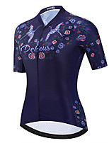 cheap -21Grams Women's Short Sleeve Cycling Jersey Dark Navy Bike Jersey Mountain Bike MTB Road Bike Cycling Breathable Sports Clothing Apparel / Athletic