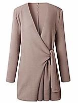 cheap -women trench coat turn down shawl collar wool blend v neck cardigan khaki