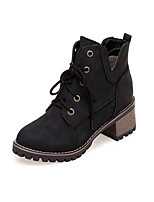 cheap -Women's Boots Chunky Heel Round Toe Booties Ankle Boots Casual Daily Walking Shoes PU Lace-up Solid Colored Black Yellow Beige / Booties / Ankle Boots