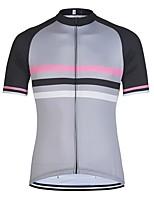 cheap -21Grams Men's Short Sleeve Cycling Jersey Grey Stripes Bike Jersey Mountain Bike MTB Road Bike Cycling Breathable Sports Clothing Apparel / Athletic