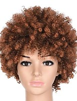 cheap -6 inch synthetic ombre kinky curly wigs for women natural black brown short afro fake hair heat resistant female wig