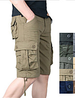 """cheap -Men's Hiking Cargo Shorts Solid Color Summer Outdoor 10"""" Loose Breathable Anti-tear Multi-Pocket Cotton Shorts Light Yellow Black Yellow Army Green Dark Gray Hunting Fishing Climbing 29 30 31 32 33"""