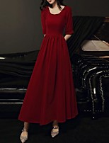cheap -A-Line Minimalist Vintage Wedding Guest Formal Evening Dress Scoop Neck Half Sleeve Ankle Length Spandex with Sleek 2020