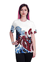 cheap -Women's T shirt Animal Print Round Neck Tops Basic Basic Top White