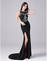 cheap -Mermaid / Trumpet Cut Out Empire Engagement Formal Evening Dress Jewel Neck Sleeveless Sweep / Brush Train Spandex with Split 2020