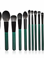 cheap -12 makeup brushes dark green microcrystalline filament handle makeup brush set beauty tools (color : green)