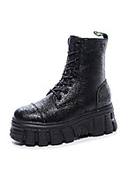 cheap -Women's Boots Wedge Heel Round Toe Booties Ankle Boots Daily Walking Shoes Leather Lace-up Solid Colored Black / Mid-Calf Boots