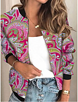 cheap -Women's Plants Patchwork Streetwear Spring &  Fall Jacket Regular Sports Long Sleeve Rayon Coat Tops Red