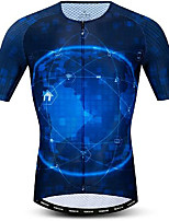 cheap -21Grams Men's Short Sleeve Cycling Jersey Dark Blue Galaxy Bike Jersey Mountain Bike MTB Road Bike Cycling Breathable Quick Dry Sports Clothing Apparel / Athletic