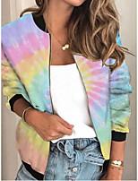 cheap -Women's Tie Dye Patchwork Streetwear Spring &  Fall Jacket Regular Sports Long Sleeve Rayon Coat Tops Blushing Pink