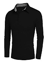 cheap -men's casual polo shirts long sleeve golf tennis business tops black