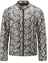 cheap -beautyfine men's washed snakeskin pattern leather coat autumn winter warm outerwear gray
