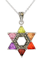 """cheap -rhodium plated multicolor cz jewish star of david pendant necklace, 16"""" +2"""" extender"""