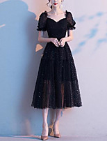 cheap -A-Line Glittering Elegant Party Wear Cocktail Party Dress Scoop Neck Short Sleeve Tea Length Tulle with Pleats Draping 2020