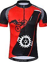cheap -21Grams Men's Short Sleeve Cycling Jersey Black / Red Gear Bike Jersey Mountain Bike MTB Road Bike Cycling Breathable Quick Dry Sports Clothing Apparel / Athletic