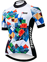 cheap -21Grams Women's Short Sleeve Cycling Jersey White Bike Jersey Mountain Bike MTB Road Bike Cycling Breathable Sports Clothing Apparel / Athletic