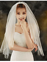 cheap -Two-tier Sweet Style Wedding Veil Elbow Veils with Faux Pearl Lace