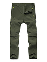 cheap -Men's Convertible Pants / Zip Off Pants Solid Color Summer Outdoor Standard Fit Waterproof Breathable Quick Dry Stretchy Bottoms Black Army Green Grey Khaki Fishing Climbing Camping / Hiking / Caving
