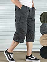 "cheap -Men's Hiking Shorts Solid Color Summer Outdoor 12"" Breathable Quick Dry Ultra Light (UL) Cotton Shorts Black Army Green Grey Khaki Hunting Fishing Climbing M L XL XXL XXXL"