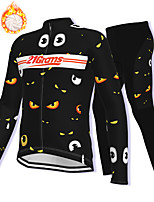 cheap -21Grams Men's Long Sleeve Cycling Jacket with Pants Winter Fleece Spandex Black Bike Fleece Lining Warm Sports Graphic Mountain Bike MTB Road Bike Cycling Clothing Apparel / Stretchy / Athleisure