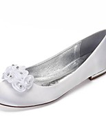cheap -Women's Wedding Shoes Flat Heel Round Toe Classic Sweet Wedding Party & Evening Satin Rhinestone Flower Solid Colored White Ivory