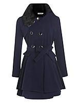 cheap -women casual a-line pleated double layers hem coat outwear wool & blends navy blue