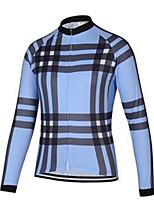 cheap -21Grams Men's Long Sleeve Cycling Jersey Sky Blue Bike Jersey Mountain Bike MTB Road Bike Cycling Breathable Sports Clothing Apparel / Athletic