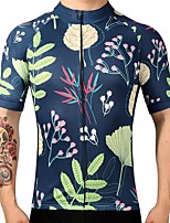 cheap -21Grams Men's Short Sleeve Cycling Jersey Dark Navy Floral Botanical Bike Jersey Mountain Bike MTB Road Bike Cycling Breathable Sports Clothing Apparel / Athletic