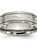 cheap -titanium 7mm grooved edge hammered wedding ring band size 6.50 fancy fashion jewelry for women gifts for her