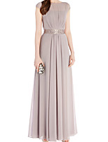 cheap -Sheath / Column Minimalist Elegant Wedding Guest Formal Evening Dress Boat Neck Sleeveless Floor Length Chiffon with Sash / Ribbon Pleats 2020