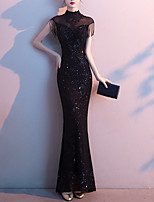 cheap -Mermaid / Trumpet Sexy bodycon Wedding Guest Prom Dress High Neck Short Sleeve Floor Length Sequined with Sequin Tassel Appliques 2020
