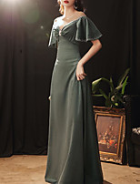 cheap -Sheath / Column Elegant Vintage Prom Formal Evening Dress Illusion Neck Short Sleeve Floor Length Tulle Velvet with Pearls Crystals 2020