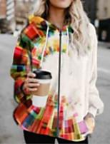 cheap -Women's Print Print Fall & Winter Jacket Long Sports Long Sleeve Cotton Blend Coat Tops Rainbow
